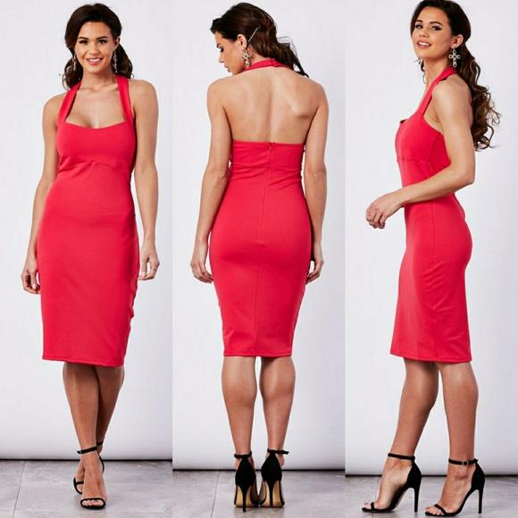 Vanity Room Dresses & Skirts - Vanity Room Red Halter Bodycon Dress NWOT